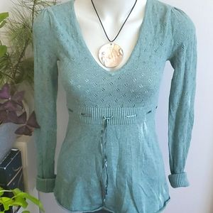 American Eagle V-neck green sweater, XS